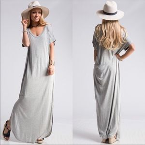 Short doman sleeve curved hem maxi dress OS